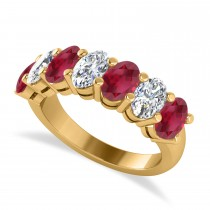 Oval Diamond & Ruby Seven Stone Ring 14k Yellow Gold (3.90ct)