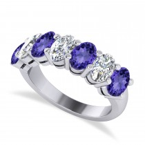 Oval Diamond & Tanzanite Seven Stone Ring 14k White Gold (3.90ct)