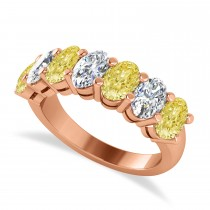Oval Yellow & White Diamond Seven Stone Ring 14k Rose Gold (3.50ct)