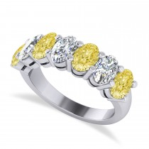 Oval Yellow & White Diamond Seven Stone Ring 14k White Gold (3.50ct)