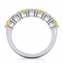 Oval Yellow & White Diamond Seven Stone Ring 14k White Gold (3.50ct)|escape
