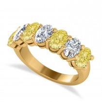 Oval Yellow & White Diamond Seven Stone Ring 14k Yellow Gold (3.50ct)