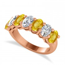 Oval Diamond & Yellow Sapphire Seven Stone Ring 14k Rose Gold (3.90ct)