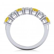Oval Diamond & Yellow Sapphire Seven Stone Ring 14k White Gold (3.90ct)