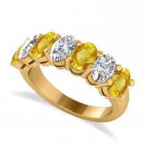 Oval Diamond & Yellow Sapphire Seven Stone Ring 14k Yellow Gold (3.90ct)