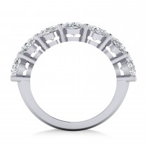 Oval Diamond Seven Stone Wedding Band 14k White Gold (7.00ct)