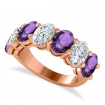 Oval Diamond & Amethyst Seven Stone Ring 14k Rose Gold (6.40ct)