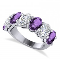 Oval Diamond & Amethyst Seven Stone Ring 14k White Gold (6.40ct)