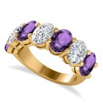 Oval Diamond & Amethyst Seven Stone Ring 14k Yellow Gold (6.40ct)