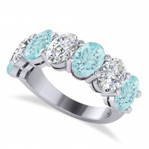 Oval Diamond & Aquamarine Seven Stone Ring 14k White Gold (1.40ct)