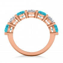 Oval Blue & White Diamond Seven Stone Ring 14k Rose Gold (7.00ct)|escape