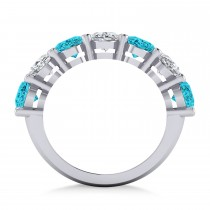 Oval Blue & White Diamond Seven Stone Ring 14k White Gold (7.00ct)