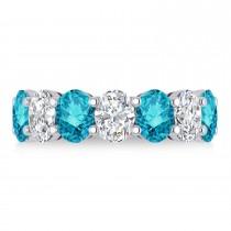 Oval Blue & White Diamond Seven Stone Ring 14k White Gold (7.00ct)