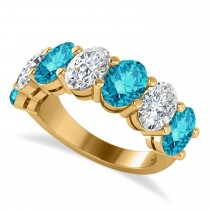 Oval Blue & White Diamond Seven Stone Ring 14k Yellow Gold (7.00ct)