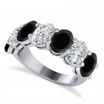Oval Black & White Diamond Seven Stone Ring 14k White Gold (7.00ct)
