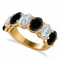 Oval Black & White Diamond Seven Stone Ring 14k Yellow Gold (7.00ct)