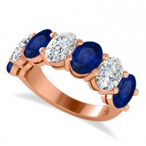 Oval Diamond & Blue Sapphire Seven Stone Ring 14k Rose Gold (7.00ct)