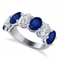 Oval Diamond & Blue Sapphire Seven Stone Ring 14k White Gold (7.00ct)
