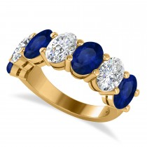 Oval Diamond & Blue Sapphire Seven Stone Ring 14k Yellow Gold (7.00ct)