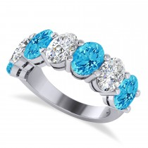 Oval Diamond & Blue Topaz Seven Stone Ring 14k White Gold (7.40ct)