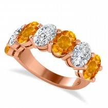 Oval Diamond & Citrine Seven Stone Ring 14k Rose Gold (6.40ct)