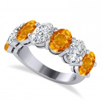 Oval Diamond & Citrine Seven Stone Ring 14k White Gold (6.40ct)