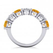 Oval Diamond & Citrine Seven Stone Ring 14k White Gold (6.40ct)