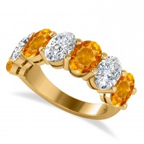 Oval Diamond & Citrine Seven Stone Ring 14k Yellow Gold (6.40ct)