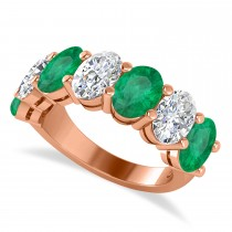 Oval Diamond & Emerald Seven Stone Ring 14k Rose Gold (6.40ct)