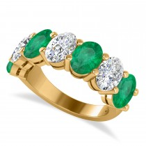 Oval Diamond & Emerald Seven Stone Ring 14k Yellow Gold (6.40ct)