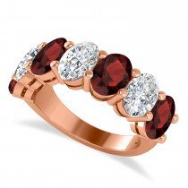 Oval Diamond & Garnet Seven Stone Ring 14k Rose Gold (7.00ct)