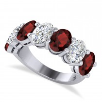 Oval Diamond & Garnet Seven Stone Ring 14k White Gold (7.00ct)