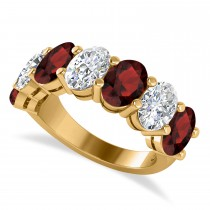 Oval Diamond & Garnet Seven Stone Ring 14k Yellow Gold (7.00ct)