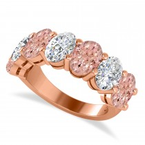 Oval Diamond & Morganite Seven Stone Ring 14k Rose Gold (6.00ct)