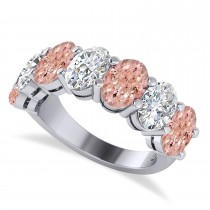 Oval Diamond & Morganite Seven Stone Ring 14k White Gold (6.00ct)