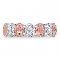 Oval Diamond & Morganite Seven Stone Ring 14k White Gold (6.00ct)