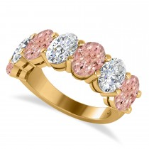 Oval Diamond & Morganite Seven Stone Ring 14k Yellow Gold (6.00ct)