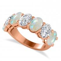 Oval Diamond & Opal Seven Stone Ring 14k Rose Gold (4.88ct)