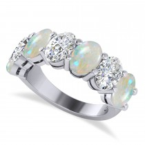 Oval Diamond & Opal Seven Stone Ring 14k White Gold (4.88ct)