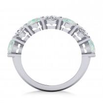 Oval Diamond & Opal Seven Stone Ring 14k White Gold (4.88ct)