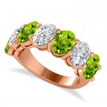 Oval Diamond & Peridot Seven Stone Ring 14k Rose Gold (6.80ct)