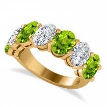 Oval Diamond & Peridot Seven Stone Ring 14k Yellow Gold (6.80ct)