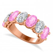 Oval Diamond & Pink Sapphire Seven Stone Ring 14k Rose Gold (7.00ct)