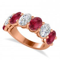 Oval Diamond & Ruby Seven Stone Ring 14k Rose Gold (7.00ct)