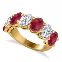 Oval Diamond & Ruby Seven Stone Ring 14k Yellow Gold (7.00ct)