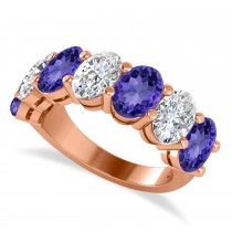 Oval Diamond & Tanzanite Seven Stone Ring 14k Rose Gold (7.00ct)