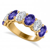 Oval Diamond & Tanzanite Seven Stone Ring 14k Yellow Gold (7.00ct)