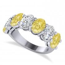 Oval Yellow & White Diamond Seven Stone Ring 14k White Gold (7.00ct)