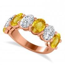 Oval Diamond & Yellow Sapphire Seven Stone Ring 14k Rose Gold (7.00ct)