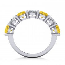 Oval Diamond & Yellow Sapphire Seven Stone Ring 14k White Gold (7.00ct)